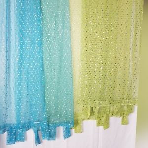 Sheer curtains with silver dots